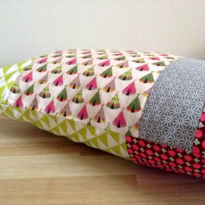 Housse de coussin, patchwork Tipis. 50 x 30 cm