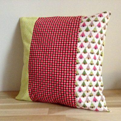 Housse de coussin, patchwork Tipis. 40 x 40 cm