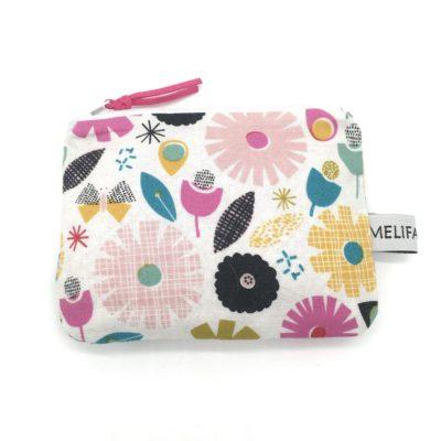 Mini pochette, porte-monnaie,  fleurs roses