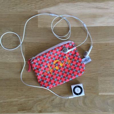 Mini pochette musique, TAILLE S,  rose fluo