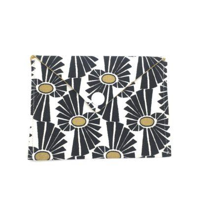 Pochette carte d'identité, fleurs , noir et jaune