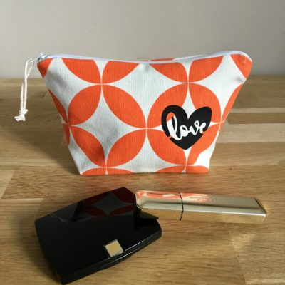 Pochette à maquillage, vintage orange, love