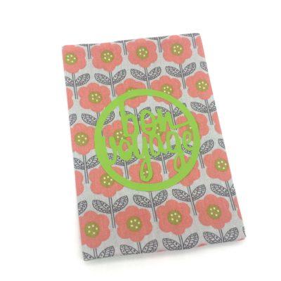 Protège passeport, fleurs- vert