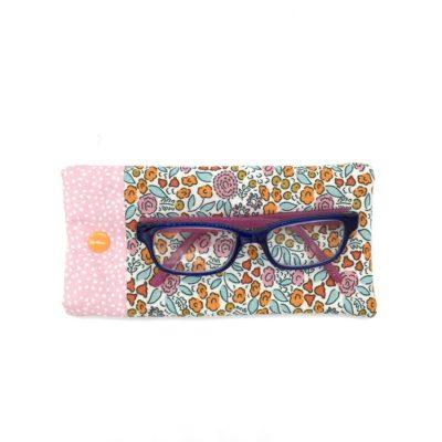 Etui à lunettes pour enfant, Fleurs roses