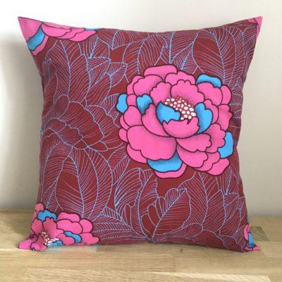 Housse de coussin 40 x 40 cm, wax- fleur rose