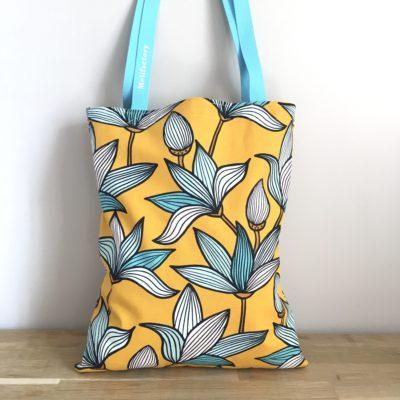 Tote bag, fleurs -jaune et turquoise