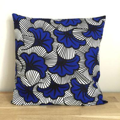 Housse de coussin 40 x 40 cm, wax- Bleu et blanc