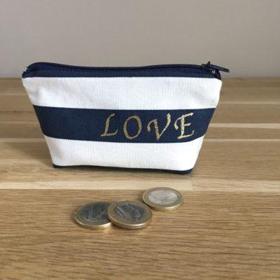 Porte monnaie , à rayures- Love