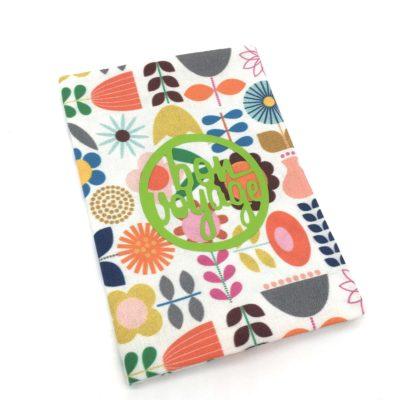 Protège passeport, petites fleurs vintage