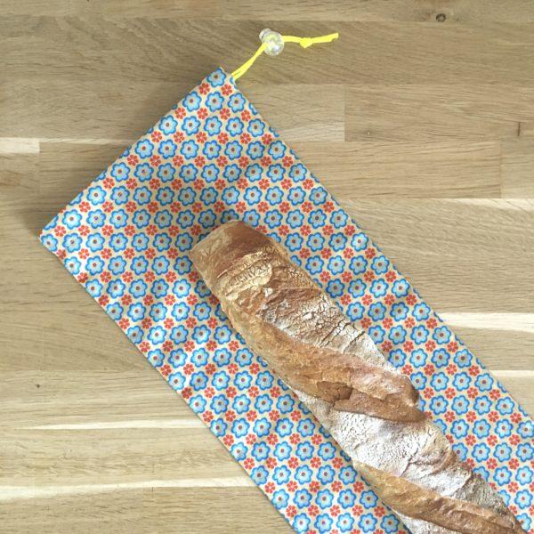 Sac à pain:baguette fleurs bleues 2 MELIFACTORY