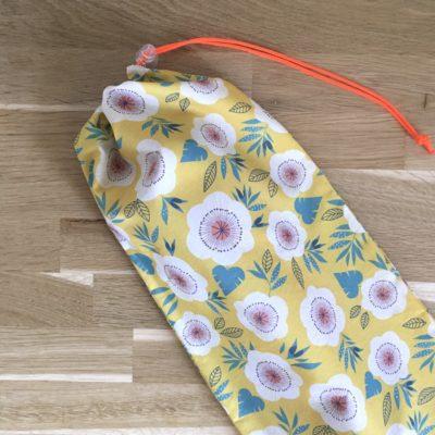 Sac à baguettes en coton bio- Fleurs jaunes