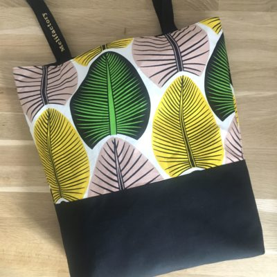 Sac shopping , wax, grandes feuilles