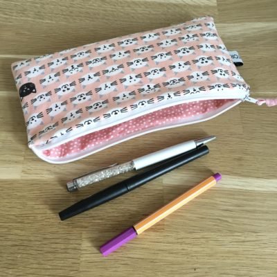 Trousse scolaire, chat, rose