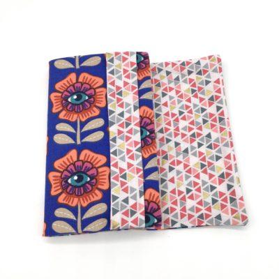 Couvre livre poche, Fleur/oeil, bleu