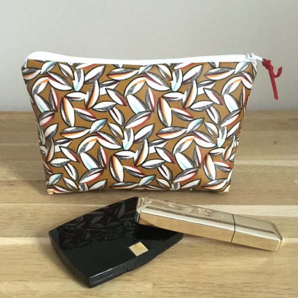 Pochette maquillage feuilles moutarde MELIFACTORY