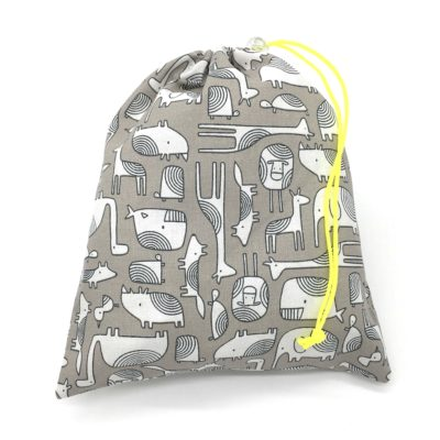 Pochon de rangement/sac de voyage,TAILLE M, Animaux gris