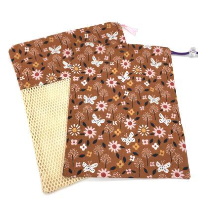 Pochon de rangement/sac de voyage,TAILLE M, Fleurs-caramel