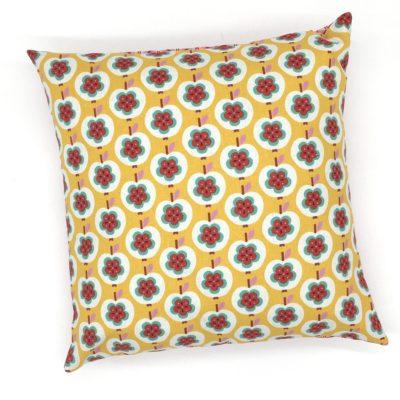 Housse de coussin 40 x 40 cm, coton et lin- pommes jaunes