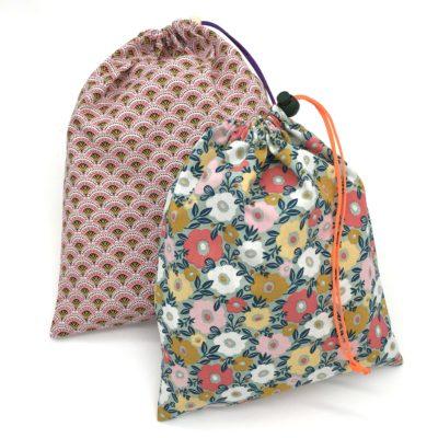 Lot de 2 sacs à vrac/sacs de voyage, TAILLE L et M, rose et fleurs vertes