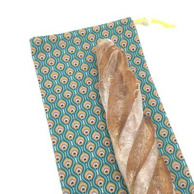 Sac à baguettes- Plumes de paon turquoise