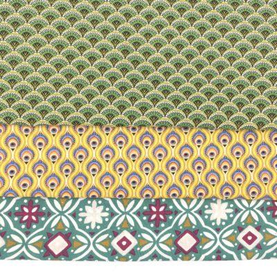 Lot de 3 coupons en coton oeko-tex 50 x 75 cm, vert et jaune