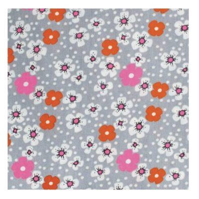 Coupon coton enduit oeko-tex, Fleurs des iles- gris
