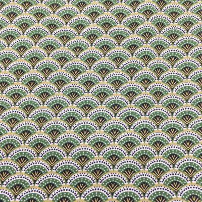 Coton éventails verts, 20 x 150 cm