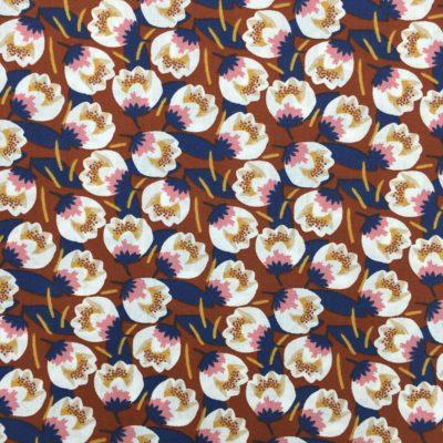 Coton fleurs rouilles, 20 x 150 cm