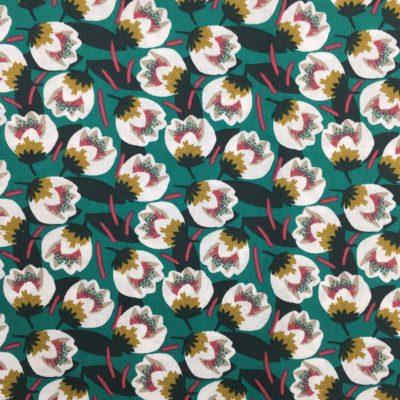 Coton fleurs vertes, 20 x 150 cm