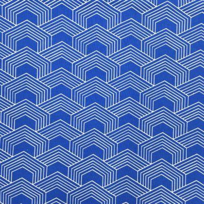 Coton géométrique bleu, 20 x 150 cm
