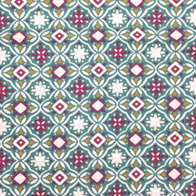 Coton géométrique vert, 20 x 150 cm