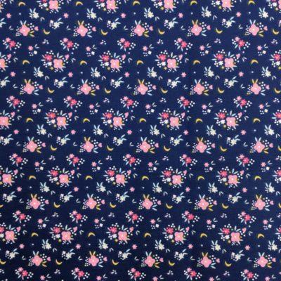 Coton petites fleurs bleues, 20 x 150 cm