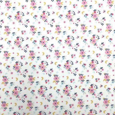 Coton petites fleurs roses, 20 x 150 cm