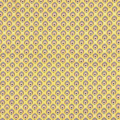 Coton plumes de paon jaunes, 20 x 150 cm