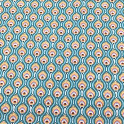 Coton plumes de paon turquoises, 20 x 150 cm
