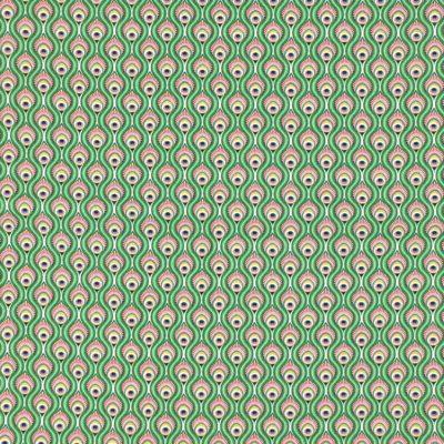Coton plumes de paon vertes, 20 x 150 cm