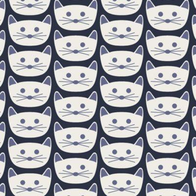 Jersey chats bleus, 20 x 150 cm