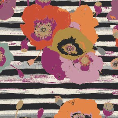 Jersey fleurs et rayures, 20 x 150 cm