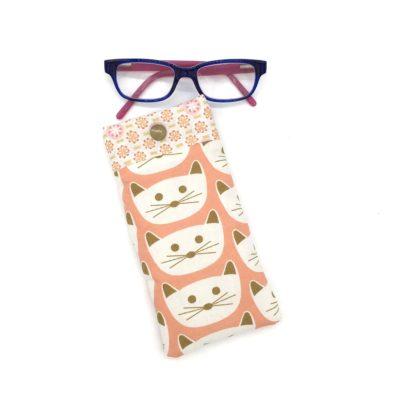 Etui à lunettes pour enfant, chats roses