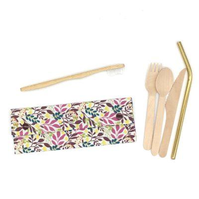 Etui à couverts/brosse à dents-Fleurs roses