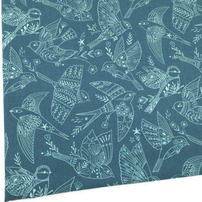 Coton oiseaux bleus, 20 x 110 cm