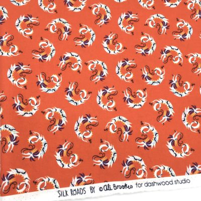 Coton dragons rouges, 20 x 110 cm