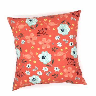 Housse de coussin 40 x 40 cm, Fleurs rouges