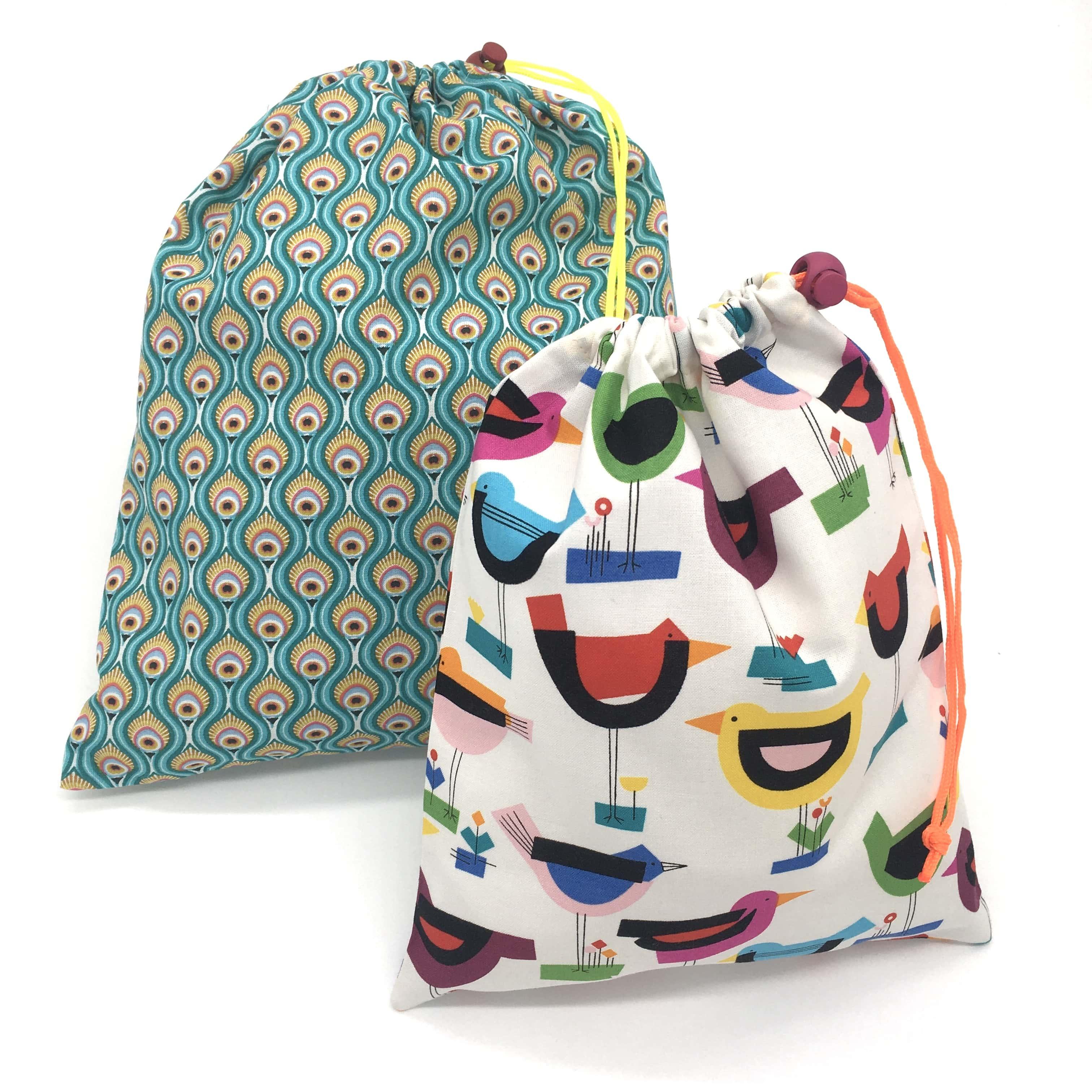 Lot de 2 sacs à vrac/sacs de voyage, TAILLE L et M, oiseaux