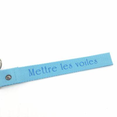 Porte clé sangle Mettre les voiles, bleu