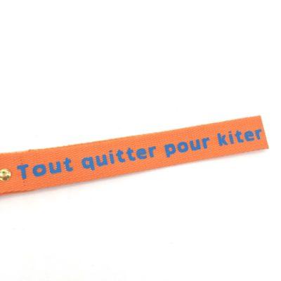 Porte clé sangle Tout quitter pour kiter, orange