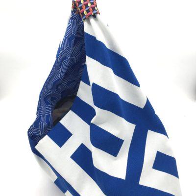 Sac de plage origami, bleu et blanc