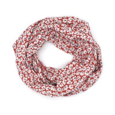 Snood léger, petites fleurs rouges