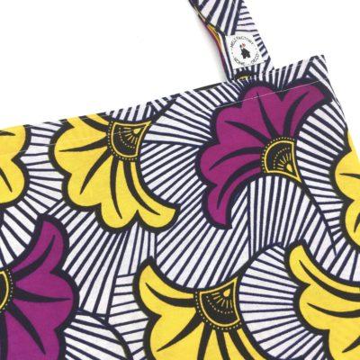 Tote bag, fleurs de mariage, violet et jaune