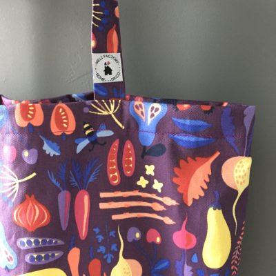 Cabas canvas enduit, grand, fruits et légumes